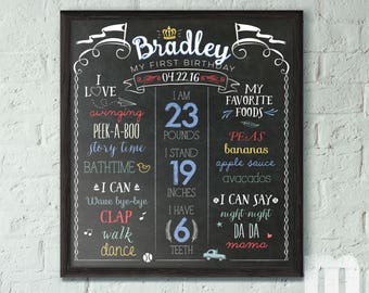 Birthday Sign for Kids, 1st Birthday Chalkboard Sign, Birthday Sign for Boy, Birthday Chalk board for Boy, Birthday Sign Printable for Baby