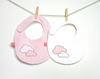 """Pale pink and white """"Clouds"""", reversible bibs"""