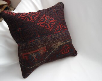 "Multi-coloured hand woven Turkish kilim pillow cover,teppich kissen,wasaddatan-16""X16""dimensions -A7"