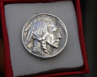Authentic Buffalo Indian Nickel circulated  good contion  coins handmade pin brooch with in gift box Navajo Indian style