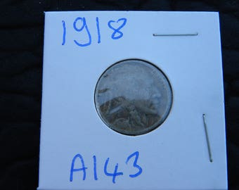 1918 US circulated  authentic vintage Buffalo Indian Nickel coin full date  A143