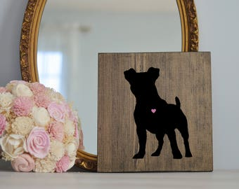 Hand Painted Jack Russell Terrier Silhouette on Stained Wood, Dog Decor, Dog Painting, Gift for Dog People, New Puppy Gift Housewarming Gift