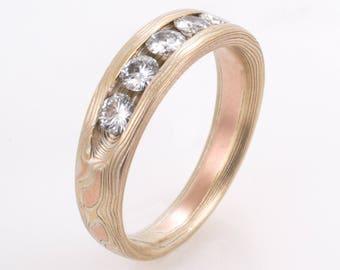 Mokume Woodgrain Engagement Ring in Fire with Moissonite