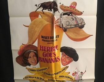 Original 1980 Herbie Goes Bananas One Sheet Movie Poster, Walt Disney, Herbie The Love Bug, Volkswagen, VW, Bug