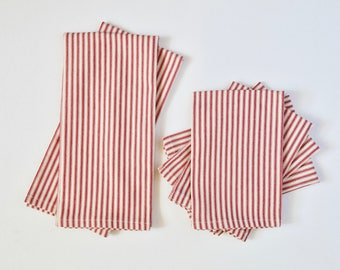 Tea Towel and Napkin Set | Red Ticking
