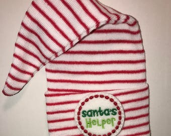 Last OnE and Ready to Ship hOLIdAY Babies! Newborn CHRISTMAS Red/White Stripe Stocking Holiday Hospital Hat for Boy or Girl! Santa's Helper!