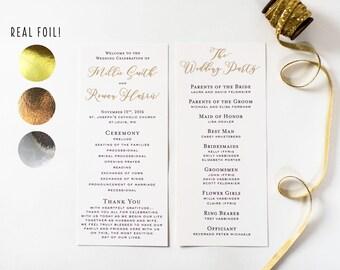 NEW!  millie gold foil wedding programs // gold foil / rose gold foil / silver foil / calligraphy romantic custom modern wedding programs