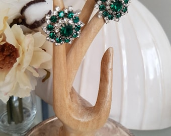 Vintage Rhinestone Flower Clip Earrings in Green Clear Stones Hand Set Prongs in Silver Toned Metal 1960's Hollywood Glam Bridal Gala Event