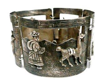 Vintage Sterling Silver Peruvian Bracelet