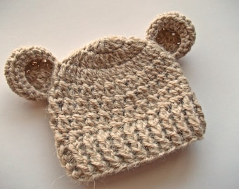 Alpaca baby hat Baby bear hat Beige bear hat Baby hat with ears Crochet bear hat Baby animal hat Newborn boy outfit Winter baby hat