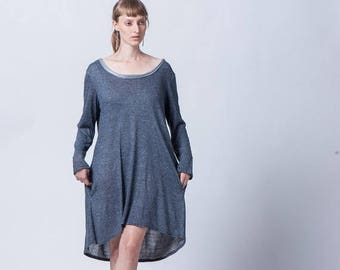 Christmas in July ON SALE,Oversize  Long Sleeves Blue Dress, Women Dress, Women Tunic, Long Sleeves Oversize Blue Tunic.