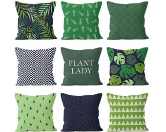 Jungle Tropical Plants Pillow Cover Set Green Navy, Jungalow style decor palm leaves monstera cactus pineapples plant lady gift