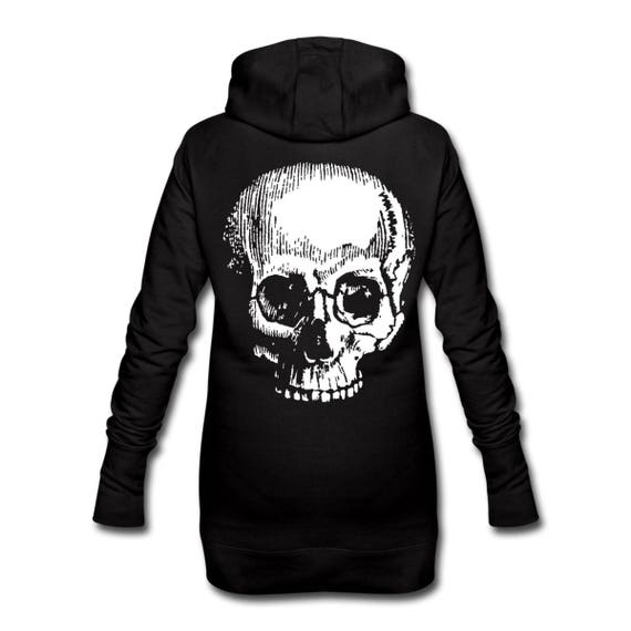 Hooded Dress with Giant Skull Skeleton Back Print Long Length For Women. Ethically Produced. Sizes S-XL. Black with white print on reverse.