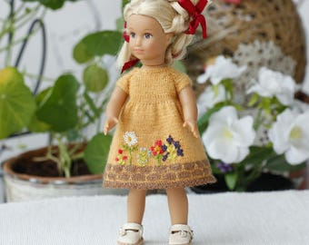 American girl mini Yellow dress 6-inches doll Knitted dress AG mini doll clothes Mini american girl  doll clothing fashion doll