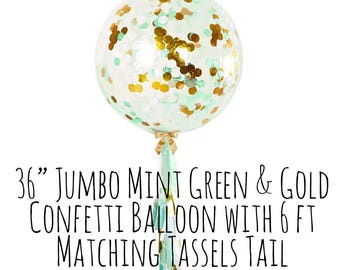 Mint Green and Gold Confetti Balloon with Tassel Tail, Big Clear Balloon, Tassel Garland Confetti Balloon, Party Supply, Wedding, Photo Prop