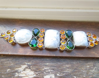 Handcrafted Rainbow Moonstone Gemstone 925 Sterling Silver Bracelet 7.5  Inches to 8.5 Inches, Wt. 86 GM