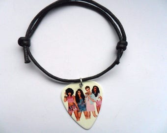 Handmade  LITTLE MIX  Guitar Pick Waxed Cord Adjustable Bracelet