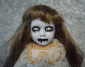 Scary Doll with White Eyes  Dark Art  Horror Collectible  Day of the Dollies