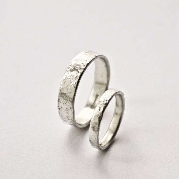 White Gold Distressed Texture Wedding Ring Set - 9 Carat Gold