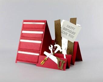 Handmade Birthday Day Card - Carpenter Toolbox Card - Happy Birthday Card - Hand Stamped Card - Handmade Card - Birthday Card for Husband