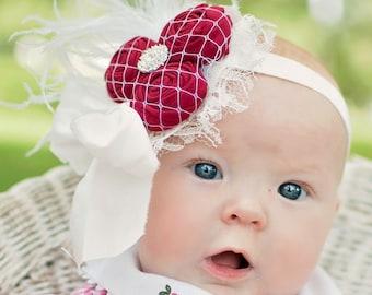 Baby Lace Headband, Red Rosette Ivory Headband, Newborn Lace headband, Silk Bow Headband, Newborn Photo Prop, Couture Baby Headband