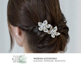 wedding hair pins | bridal hair jewelry | bridal hair pins | beaded headpiece silver | wedding hair accessories | flower hair accessory