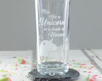 Personalised Unicorn Highball Glass