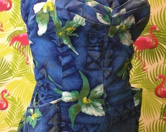 Reserved for Danielle Plus size vintage Hawaiian play suit / romper / swimsuit