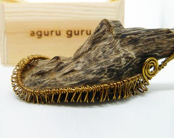Natural Agarwood Copper Wire Wrap Pendant 3.9g Handmade, Oud, Necklace, Collectable, Spiritual AG520-1386