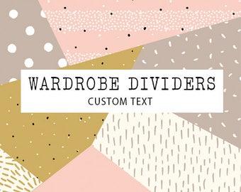 Add on listing - Wardrobe dividers custom text option.