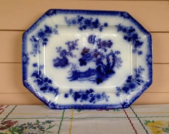 "Flow Blue ""INDIAN"" pattern Meat Platter"