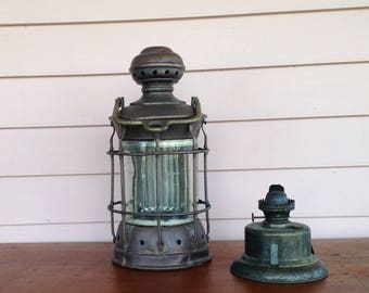 Vintage Copper and Brass Maritime Ships Light, Old Ships Light, Beach Decor