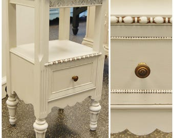 Tall 1920s Side End Table Nightstand - Linen White - Vintage Two 2 Tier Solid Wood Wooden Beautiful Lovely Intricate
