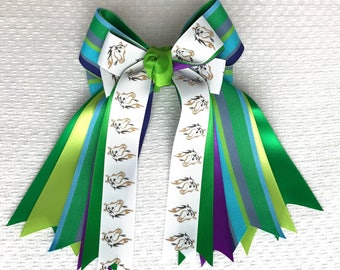 Horse Show Hair Bows Accessory, green blue purple pony bows, gift