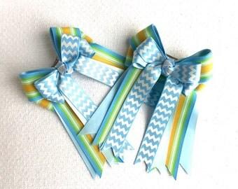 Horse show hair bows/blue chevron hair accessory, beautiful gift