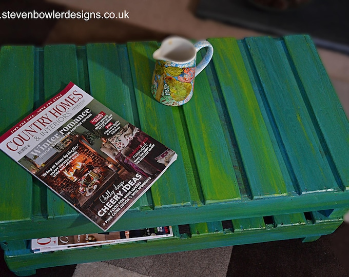 FREE UK SHIPPING Country Cottage Rustic Reclaimed Coffee Table with Handy Under Shelf Storage in Woodland Greens & Blues Handmade to Order