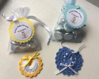 Elegant 10 Crochet Bibs ,Crocheted Baby Shower Favor/Baby Shower Favors/Bibs For  Favors