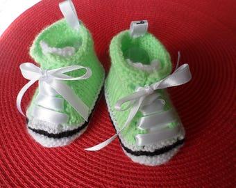 Slippers, sneakers baby wool (0-3 months)