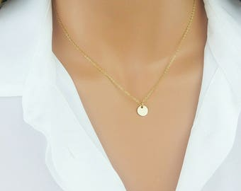 Monogram Disc Necklace / Gold Initial Necklace / Initial Disc Necklace / Personalized Jewelry / Gift For Her / Bridesmaid Necklace, 8D