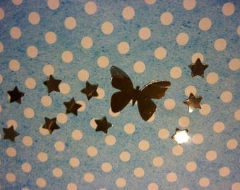Stickers Butterfly + stars mirror effect