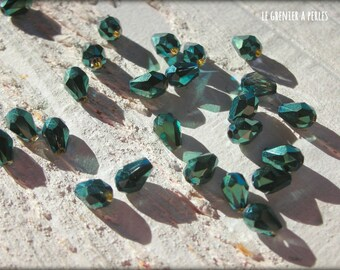 Drops 5 x 2 mm Metal Green X 25 Crystal from China