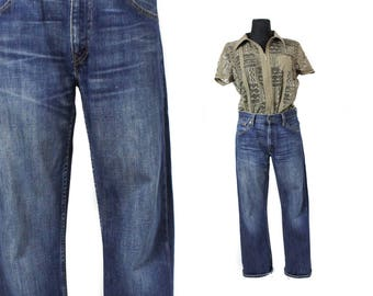 LEVIS 507 jeans, Denim pants, Jean pants, Denim trousers, Vintage jeans, Levis denim pants, Dark blue Levis , Straight leg pants W 30 L32