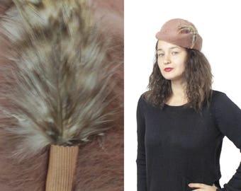 Vintage womens hat, Pillbox hat, Brown pillbox hat, Cloche hat, Feather hat, Womens winter hats, Winter pillbox hat, Warm winter hat, Womens