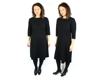 Black Midi dress / Vintage 60s dress / Little black dress /  1960s clothes / Twiggy dress / Dolly dress / Medium