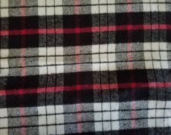 Plaiditudes Plaid Brushed Cotton Black Red White Flannel Fabric by the yard