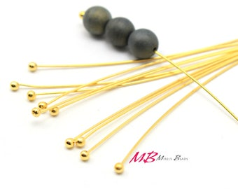 100 2 Inch  Gold Plated Ball Head Pins, 24 Gauge