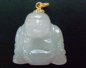 Vintage Chinese Carved Jade Buddha Pendant with Smiling Face