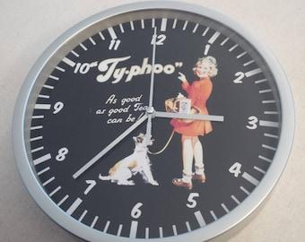 clock wall pattern ty-phoo tea advertising retro vintage