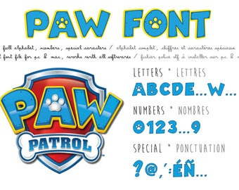 Paw Patrol font ttf instant download and install