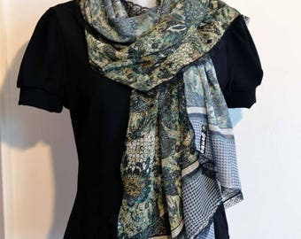 green and grey scarf